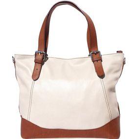 Genuine leather Tote handbag with belt-strap handles (Beige & Brown)