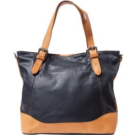 Genuine leather Tote handbag with belt-strap handles (Black & Tan)