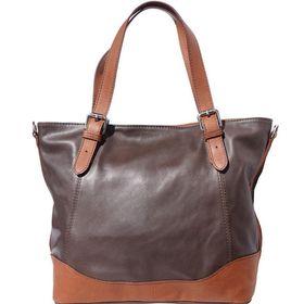 Genuine leather Tote handbag with belt-strap handles (Dark Brown & Brown)