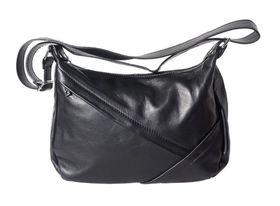 Genuine leather shoulder handbag with oblique zip (Black)