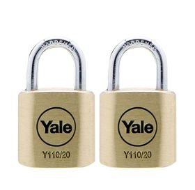 Yale - 20mm Brass Padlock - 2 Pack Keyed Alike