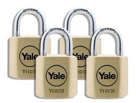Yale - 20mm Brass Padlock - 4 Pack Keyed Alike
