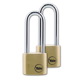 Yale - 30mm Brass Padlock Long Shackle - 2 Pack Keyed Alike