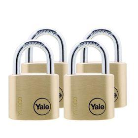 Yale - 30mm Brass Padlock - 4 Pack Keyed Alike