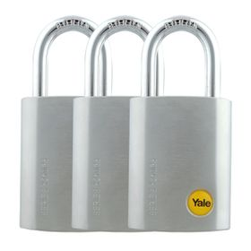 Yale - 38mm Steel Satin Chrome 'Tall' Padlock 3 Pack Keyed Alike