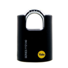 Yale - 40mm Brass Black Cover Closed Shackle Padlock