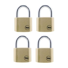 Yale - 40mm Brass Padlock - 4 Pack Keyed Alike