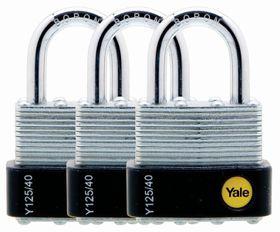 Yale - 40mm Laminated Padlock - 3 Pack Keyed Alike