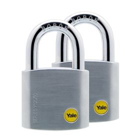 Yale - 50mm Brass Satin Chrome Padlock - 2 Pack Keyed Alike
