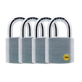 Yale - 50mm Brass Satin Chrome Padlock - 4 Pack Keyed Alike