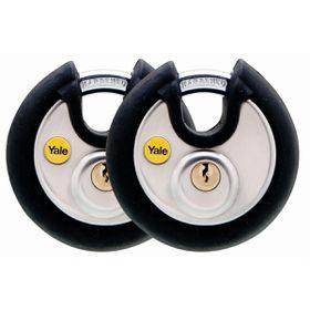 Yale - 70mm Black Cover Discus Padlock - 2 Pack Keyed Alike