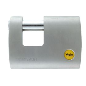 Yale - 70mm Brass Satin Chrome Rectangular Padlock