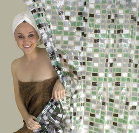 The Bathroom Shop - Shower Curtain Mosaic Pvc - Green