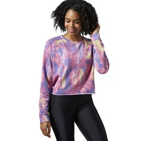 Women's Reebok Dance Faux Fur Printed Crew Sweatshirt