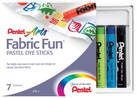 Pentel 7 Fabric Fun Pastel Dye Sticks Set