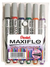 Pentel Maxiflo 4.0mm Bullet Tip Whiteboard Markers - Wallet of 6