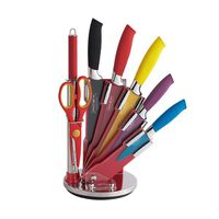 Royalty Line 8-Piece Wave Design Handle Colourful Non-Stick Knife Set with Stand
