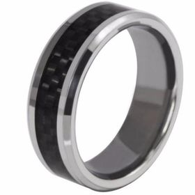 Cardina Jewels Tungsten Carbide Ring with Woven Carbon Fibre Insert