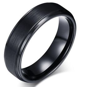 Cardina Jewels Black Tungsten Carbide Ring with Groove Detail