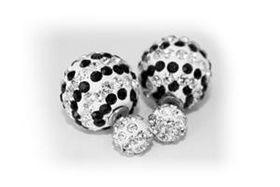 Skyla Jewels Two-Sided  Stripped Rhinestone Earrings - Black & White