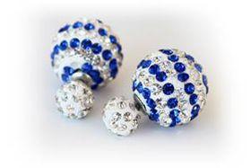 Skyla Jewels Two-Sided Stripped Rhinestone Earrings - Blue & White