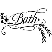 Vinyl Lady Decals Floral Bath Wall Art Sticker - Black