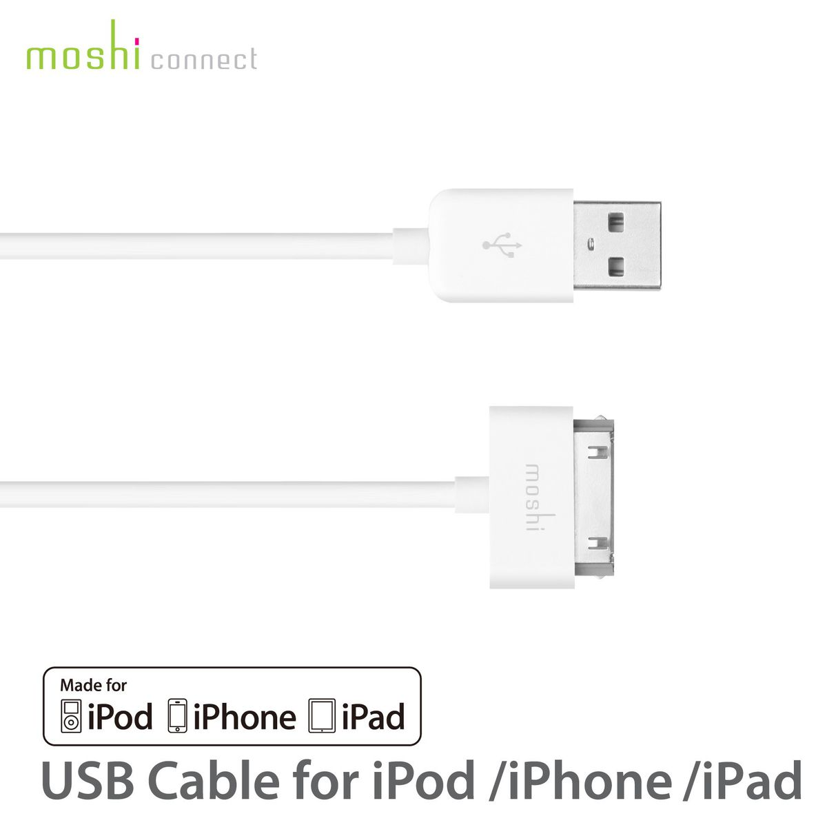 moshi usb cable ipod iphone ipad white buy online in south africa. Black Bedroom Furniture Sets. Home Design Ideas