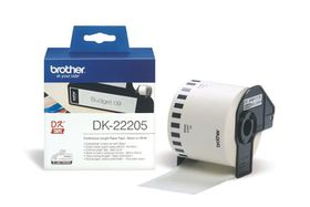 Brother DK-22205 Continuous Length Paper Tape (62mm x 30.48m) - Black on White