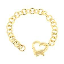 Miss Jewels 18K Gold Plated Heart Clasp Costume Bracelet