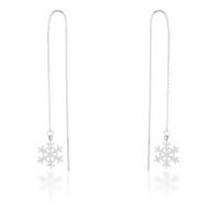 Miss Jewels Threaded Drop Snowflake Earrings In Stainless Steel