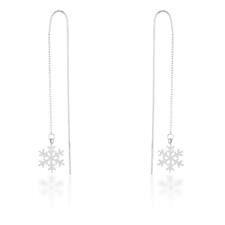Miss Jewels Threaded Drop Snowflake Earrings In Stainless Steel