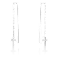Miss Jewels Threaded Drop Cross Earrings In Stainless Steel