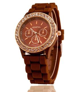 URBAN Charm Geneva Crystal Gemstone Silicone Jelly Watch in Rose Gold - Chocolate Brown  + FREE Heart Shaped Jewellery Tin
