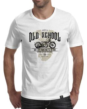StoneDeff - I Might be Old School but I Live Young Men's Short Sleeve T-Shirt - White
