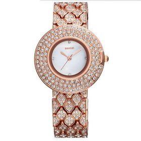Ladies Rose Gold Bling Crystal Stainless Steel Leather Wrist Watch