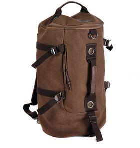 Men's Vintage Canvas Hiking Travel Cylinder Messenger Tote Bag Backpack