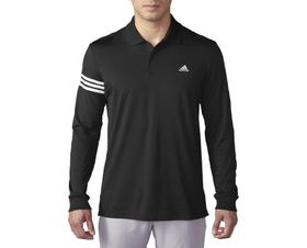 Adidas Climacool Long Sleeve Upf 3-Stripes Polo - Black