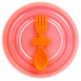 Lumoss - Bowl With Slip Lid and Fork Spoon - Orange