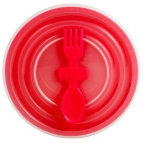 Lumoss - Bowl With Slip Lid and Fork Spoon - Red