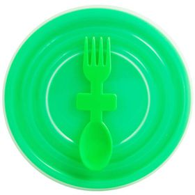 Lumoss - Bowl With Slip Lid and Fork Spoon - Green