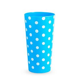 Lumoss - Lotus 600ml Polka Dot Printed Tumbler - Cyan Blue - Set Of 4