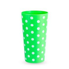 Lumoss - Lotus 600ml Polka Dot Printed Tumbler - Neon Green - Set Of 4
