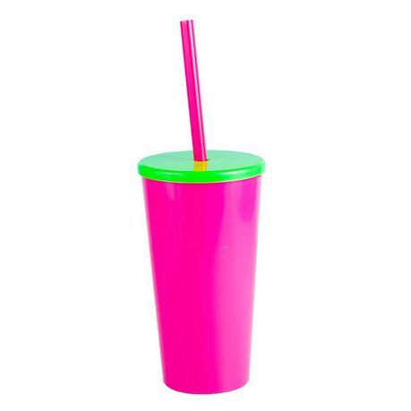 e6181c5a095 Lumoss - Tucan 600ml Glass With Cap and Straw - Magenta