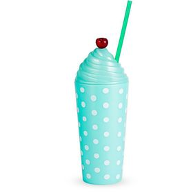 Lumoss - Sundae Tumbler PP Pastel Mint With Swirl Cap - Cherry and Straw With Polka Dot Print