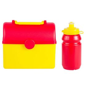 Lumoss - Treasure Chest Lunch Box With 300ml Bottle - Yellow and Red