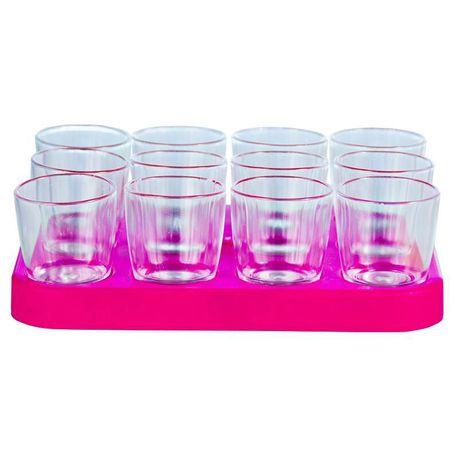 de830453078 Lumoss - Shot Glass Tray With 12 x 25ml Clear Shot Glasses - Magenta