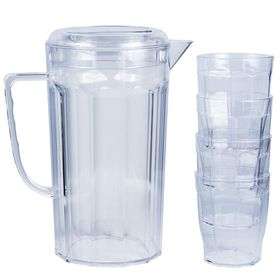Lumoss - Plastic Jug With 4 Tumblers - Clear