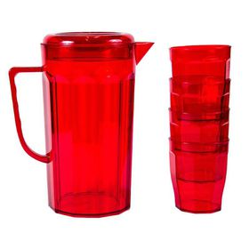 Lumoss - Plastic Jug With 4 Tumblers - Red