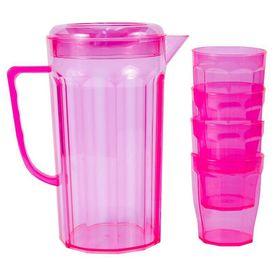 Lumoss - Plastic Jug With 4 Tumblers - Neon Pink