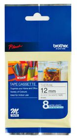 Brother M-K231 12mm x 8m Black on White Non-Laminated Tape
